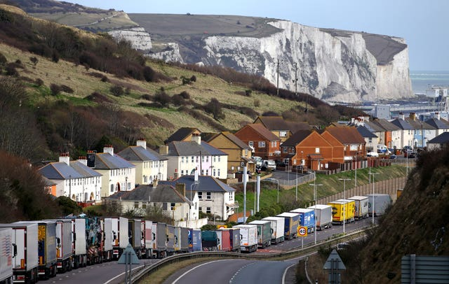 Lorries queue on the A20 outside Dover