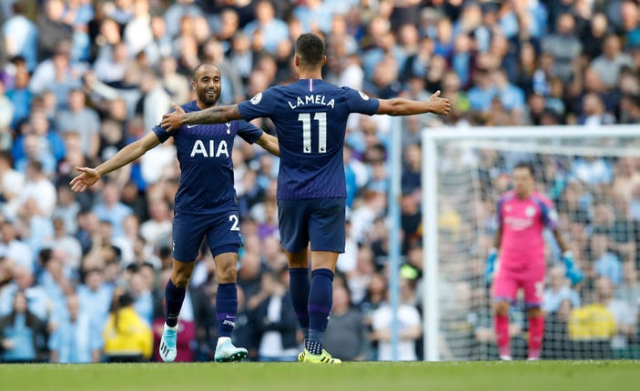 Lucas Moura celebrates his equaliser in the second half