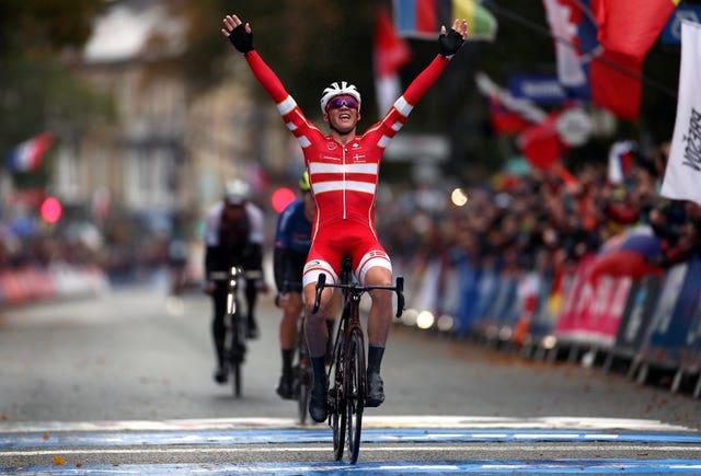 Denmark's Mads Pedersen won the men's elite road race from Leeds to Harrogate