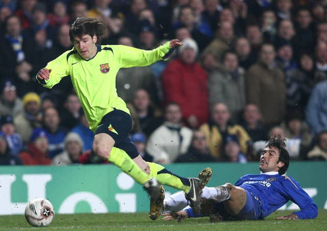 Lionel Messi, left, in Champions League action against Chelsea in 2006