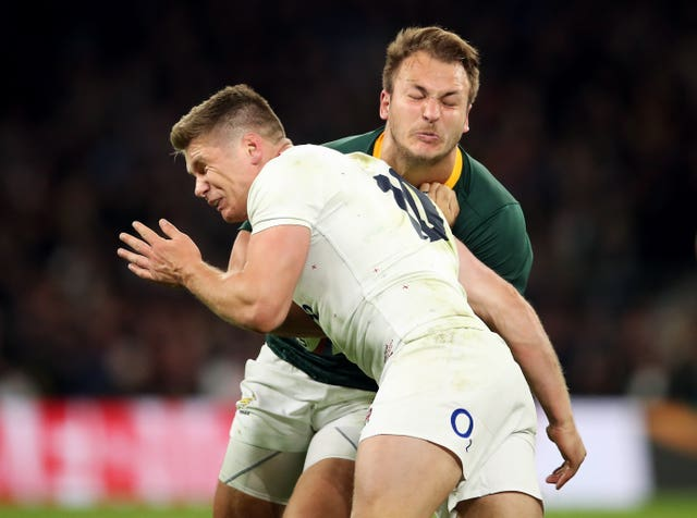 Owen Farrell's controversial tackle against South Africa (pictured) was similar to his challenge on Australia on Saturday
