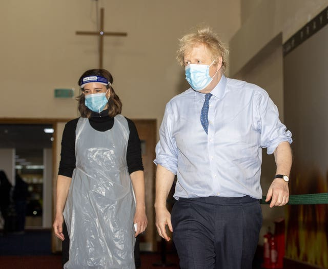 Prime Minister Boris Johnson visited the vaccination centre at Jesus House for All The Nations church in Brent, North London