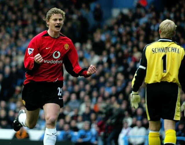 Ole Gunnar Solskjaer scores against Manchester City in 2002, in a game United lost 3-1 at Maine Road