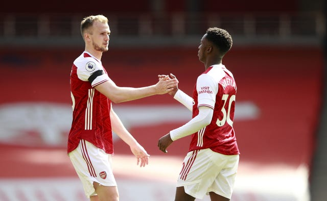 Eddie Nketiah (right) celebrates his goal