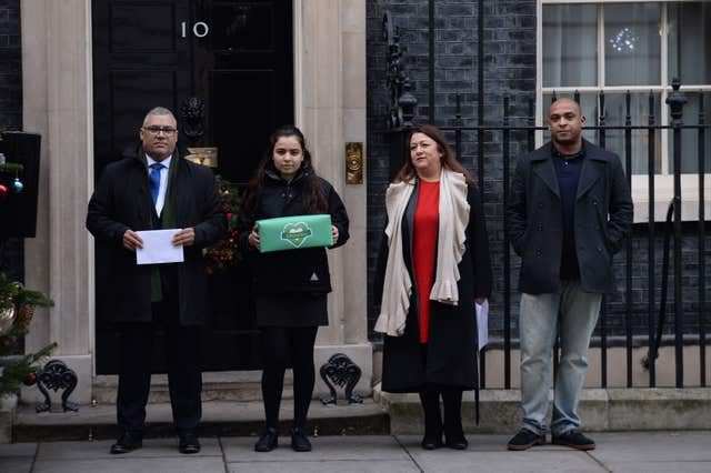 Survivors and bereaved families delivered a petition to Downing Street last year (Stefan Rousseau/PA)