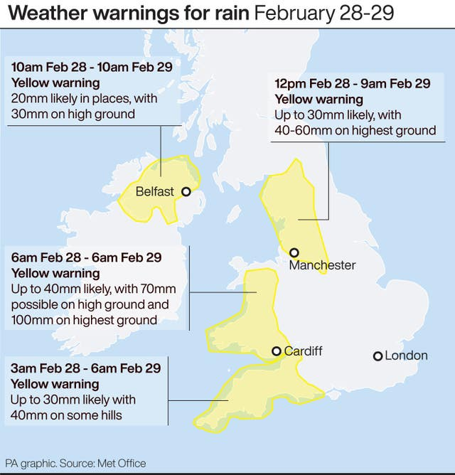 Weather warnings for rain February 28-29
