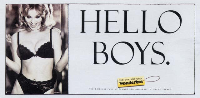 Undated handout image issued by TBWA of the 'Hello Boys' billboard advertising campaign, Eva Herzigova's traffic-stopping Wonderbra billboards have been declared the most eye-catching adverts of the past five decades in a poll by the Outdoor Media Centre.