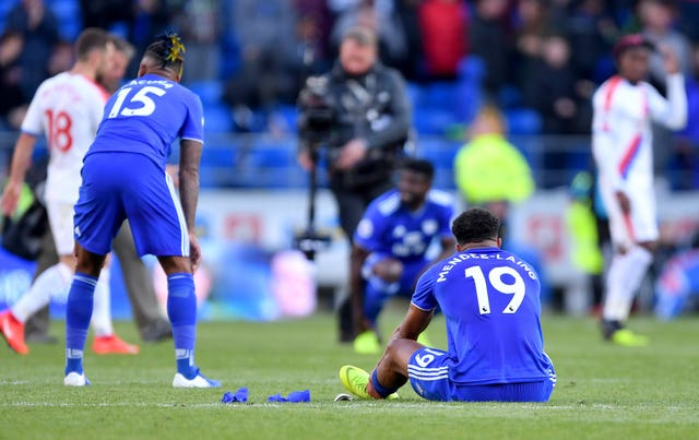 Cardiff's Nathaniel Mendez-Laing after his side's relegation from the Premier League was confirmed