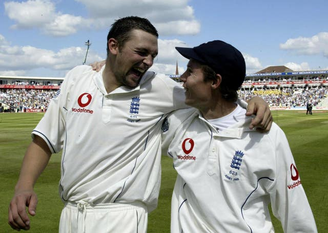 Steve Harmison, left, and Geraint Jones celebrate at Edgbaston