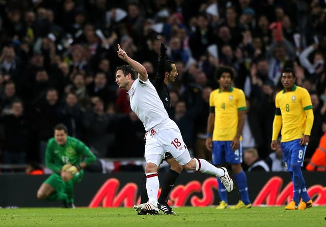 Frank Lampard celebrates scoring England's winner
