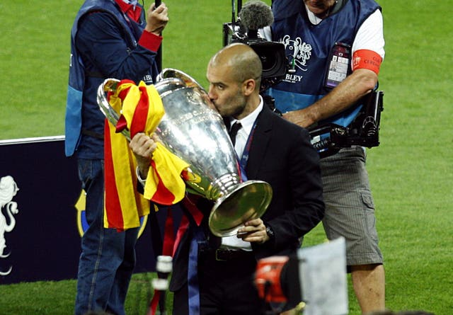 Pep Guardiola has twice won the Champions League with Barcelona (Sean Dempsey/PA).