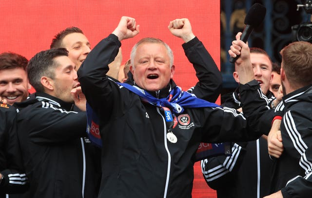 Sheffield United manager Chris Wilder (centre) undertakes his first game as a Premier League manager against Bournemouth
