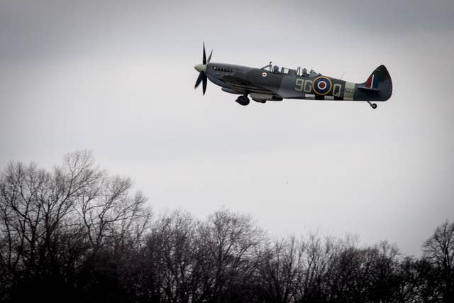 Former Spitfire pilot Squadron Leader Allan Scott takes to the skies (Stefan Rousseau/PA)