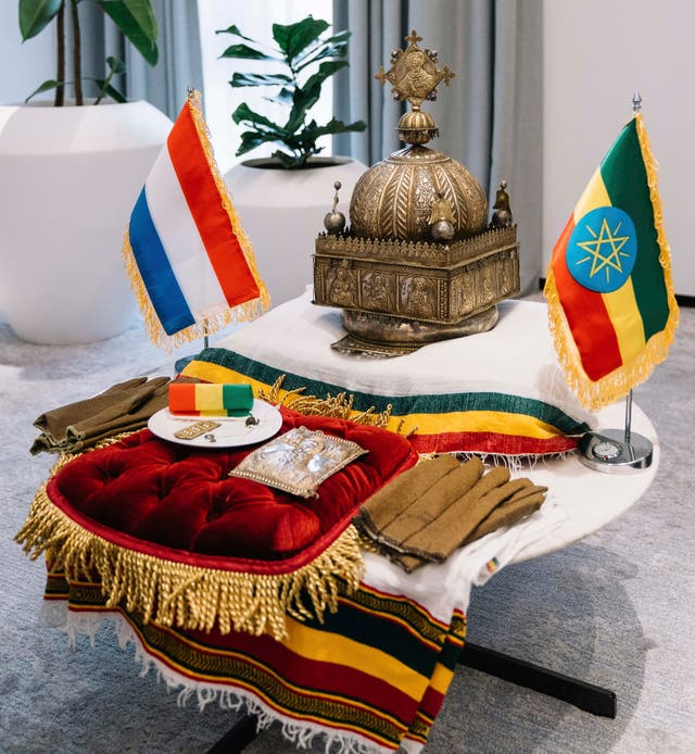 An ancient crown that was taken from Ethiopia many years ago inside the office of Ethiopian Prime Minister Abiy Ahmed