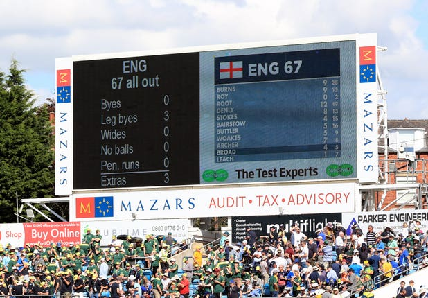 Sorry England were bowled out for just 67 at Headingley