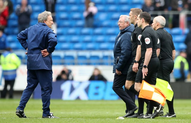 Cardiff manager Neil Warnock (left) was fuming with the officials following defeat by Chelsea (Nick Potts/PA)