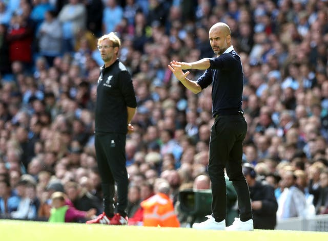 Manchester City manager Pep Guardiola will look to get the better of Liverpool counterpart Jurgen Klopp