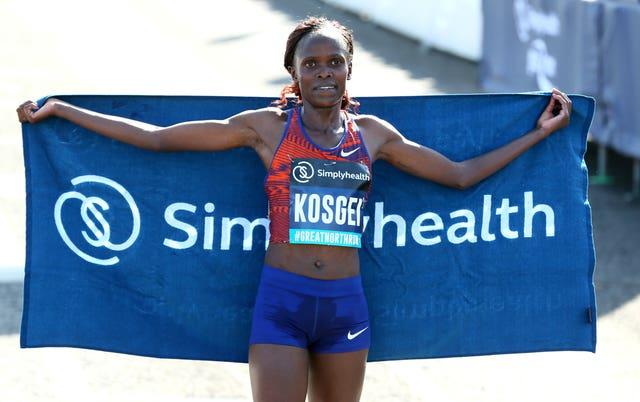Brigid Kosgei was the winner of the Elite Women's race