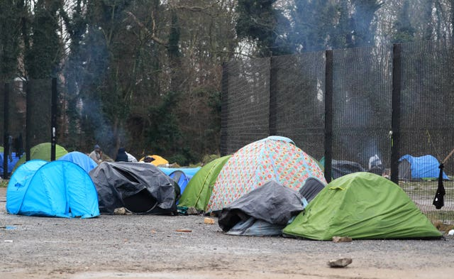 A view of a migrant camp in Calais, France (Gareth Fuller/PA)