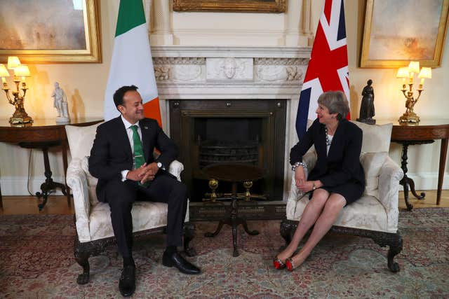 Leo Varadkar meets Theresa May in Downing Street (Hannah McKay/PA)