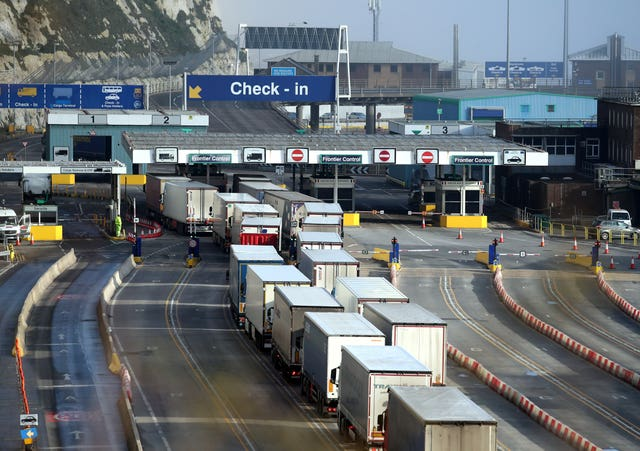 Lorries arrive at the Port of Dover