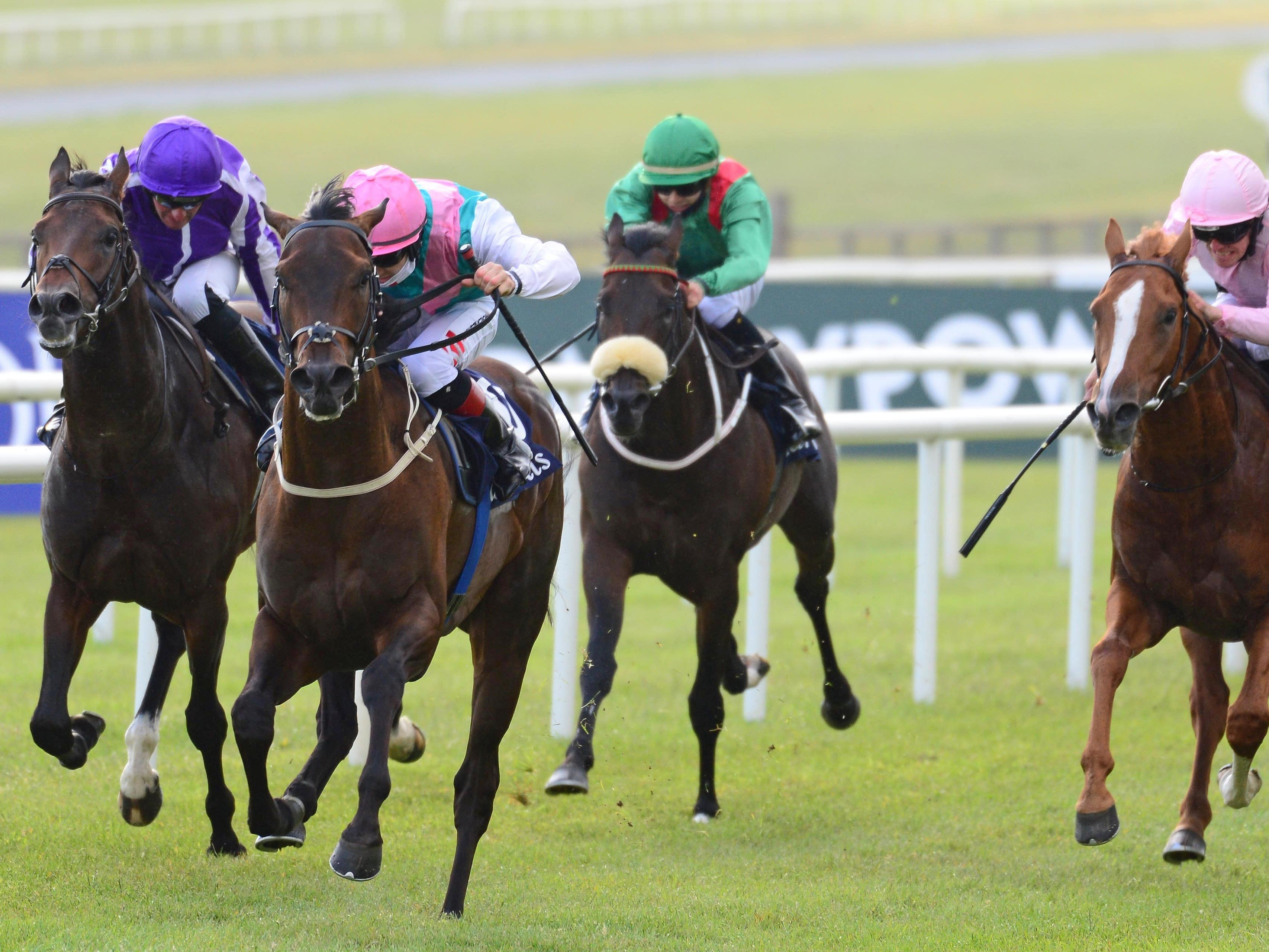 Siskin ridden by Colin Keane (second left) wins the Tattersalls Irish 2000 Guineas at Curragh Racecourse.
