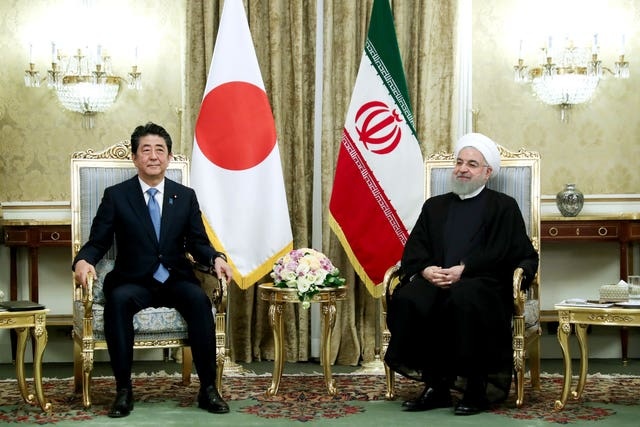 Japanese Prime Minister Shinzo Abe and Iranian President Hassan Rouhani at the Saadabad Palace in Tehran, Iran