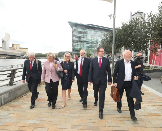 Jeremy Corbyn with shadow cabinet members during a walkabout at MediaCityUK in Salford