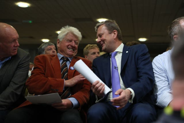 Conservative Party leadership contender Boris Johnson's father Stanley Johnson, left, watching his son speak in Exeter during a Tory leadership hustings