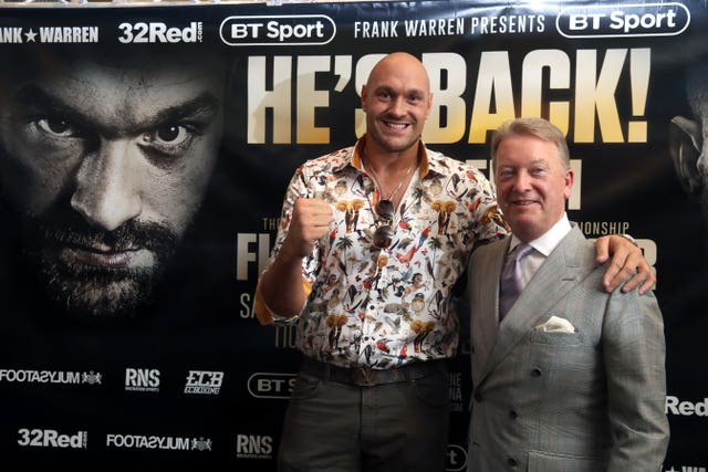Tyson Fury launched his comeback with Frank Warren (Nick Potts/PA)