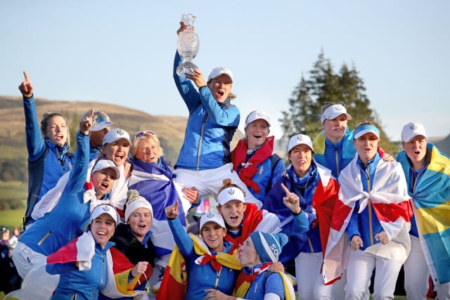 Europe captain Catriona Matthew, top, leads the celebrations after her side regained the Solheim Cup in dramatic circumstances at Gleneagles. Norwegian Suzann Pettersen justified her controversial wild card selection by Matthew with the winning putt in a 14.5 points to 13.5 victory
