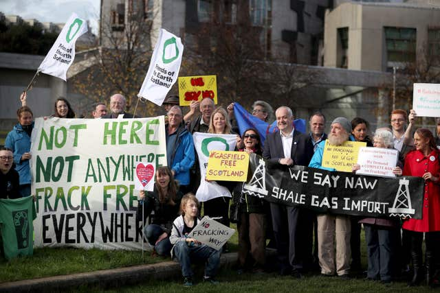 Anti-fracking protest at Scottish Parliament