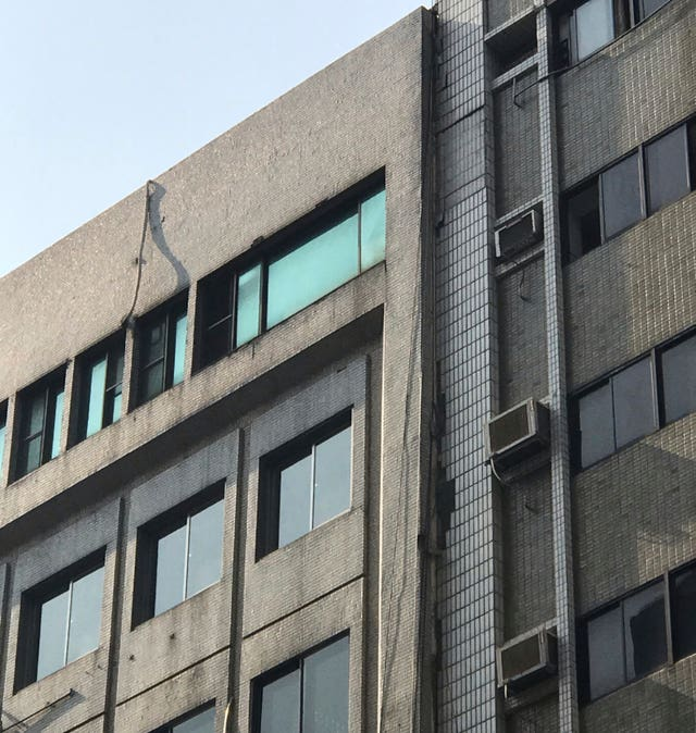 Damage to a building in Taipei