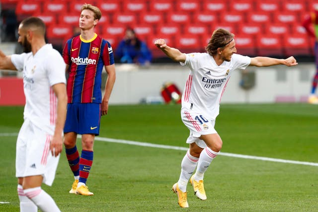 Luka Modric sealed Real Madrid's win at an empty Nou Camp