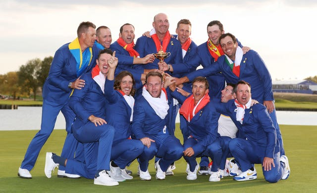 Molinari, back row, far right, loved playing his part in Europe's 2018 Ryder Cup success