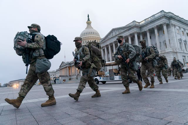 National Guard soldiers outside the US Capitol ahead of the inauguration of President-elect Joe Biden