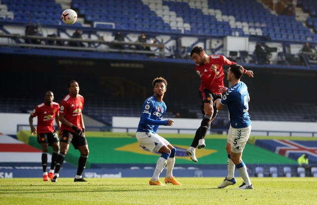 Bruno Fernandes scored two and set up another in the victory at Goodison Park