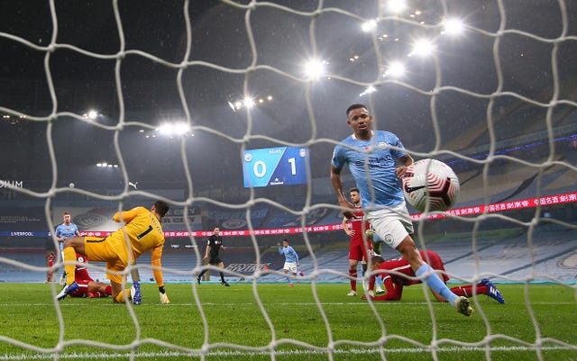Gabriel Jesus levelled for Manchester City against Liverpool