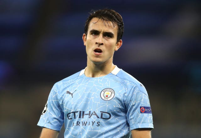Manchester City's Eric Garcia is being tracked by Barcelona