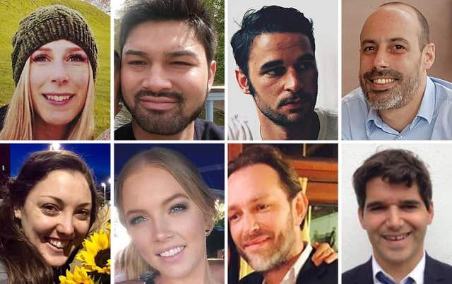 Top row left to right, Canadian Christine Archibald, James McMullan, Alexandre Pigeard, French chef Sebastien Belanger, bottom row left to right, Australian nurse Kirsty Boden, Australian Sara Zelenak, Xavier Thomas and Spanish banker Ignacio Echeverria (Metropolitan Police/PA)
