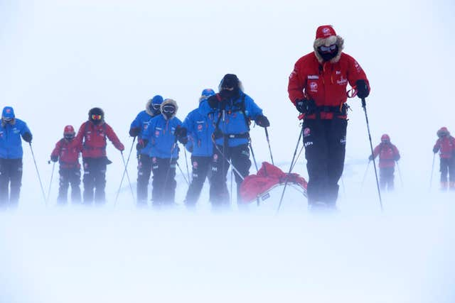 Prince Harry (right), patron of Team UK in the Virgin Money South Pole Allied Challenge 2013 expedition (Robert Leveritt/WWTW/PA)