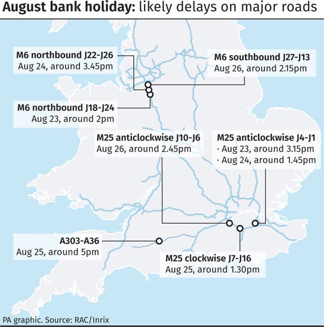 August bank holiday likely delays on major roads