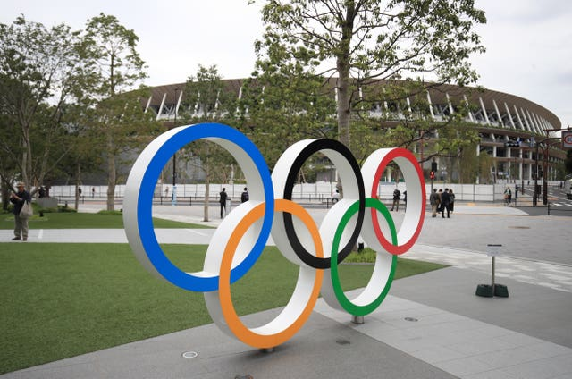 A general view of the 2020 Olympics stadium in Tokyo