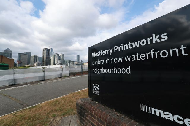 A view of the Westferry Printworks site on the Isle of Dogs, east London