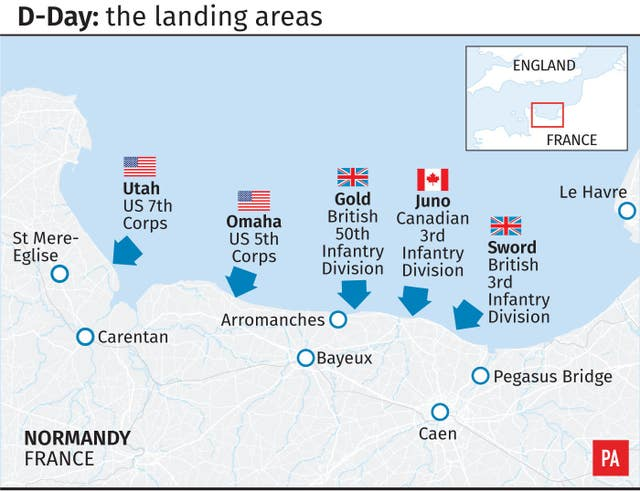 D-Day: the landing areas
