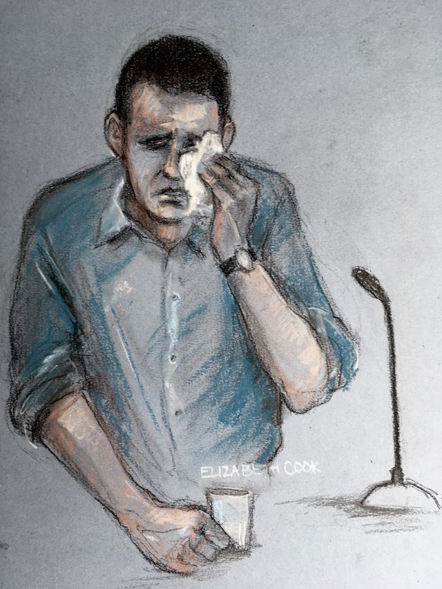 Court artist sketch of Timothy Brehmer giving evidence during his trial (Elizabeth Cook/PA)