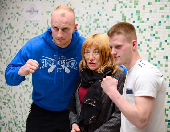 Boxing promoter Kellie Maloney with boxers Gary Cornish (left) and Tony Jones