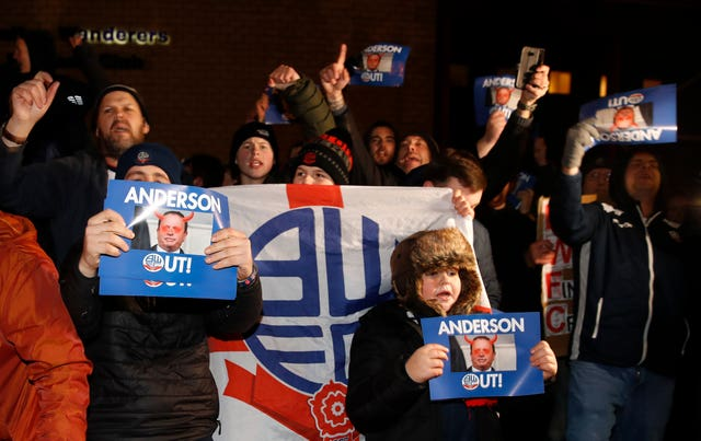 Bolton fans blame chairman Ken Anderson for the club's financial struggles
