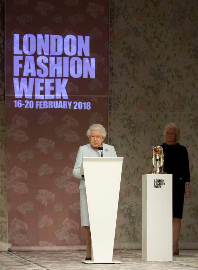 The Queen delivers a speech following Richard Quinn's Autumn/Winter 2018 London Fashion Week show (Isabel Infantes/PA)
