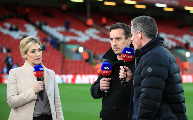 Gary Neville, centre, has become one of the most popular pundits in the game